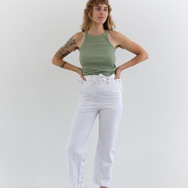 Vintage 28 Waist SLIM White Denim Broadfall Trousers | High Waist Workwear Pants | Sailor Pants | XXS by RAWSONSTUDIO
