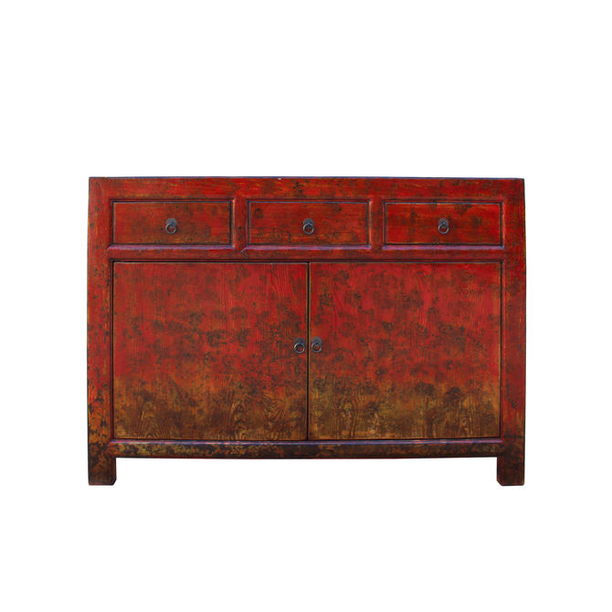 Distressed Rustic Orange Red Sideboard Console Table Cabinet cs5340E by GoldenLotusAntiques