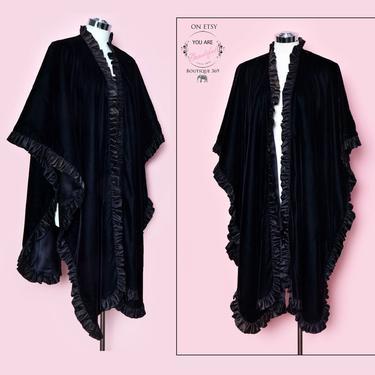 Black Velvet Evening Cape WRAP, Vintage Shawl Opera Coat Jacket, 1950's style Satin Ruffles 1960's, 1970's Art Deco Cape by Boutique369