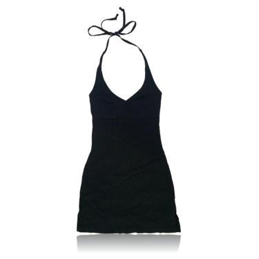 90s Black Halter Mini Dress // A-Line // Size Medium // Charlotte Russe by RadThingsVintage