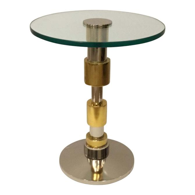 Modern Brass and Stainless Steel Accent Table