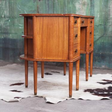 ELEGANT, RARE 1940 Mid Century Mission Walnut Desk + Chair Bookshelf 2 sided Cabinet Danish finished back 7 Drawers 2 cabinets 4 shelves MCM by CatchMyDriftVintage