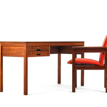 Minimalist Mid Century Modern Writing Desk in Walnut in the Manner of Arne Wahl Iversen by ABTModern