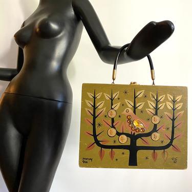 Vintage 60s Enid Collings Box Bag Purse • Money Tree Partridge Wooden Handbag • Rockabilly Hippie Boho Accessory • Gold Coins Faceted Stones by elliemayhems