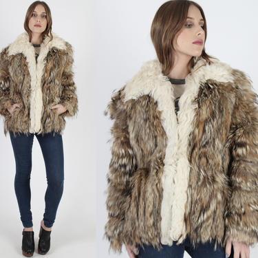 Vintage 70s Tanuki Fur Coat Natural Real Raccoon Fur Coat Shaggy Mongolian Curly Lamb Winter Ski Trip Country Bohemian Jacket by americanarchive
