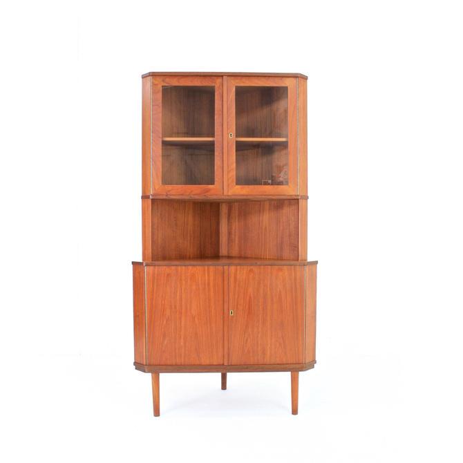 Mid Century Danish Teak Corner Display Cabinet by SputnikFurnitureLLC
