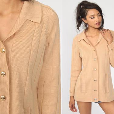 Tan Cardigan Sweater 70s Sweater Raglan Sleeve Button Up Grandma Sweater Slouchy Boho Vintage 60s Retro Bohemian Plain Medium by ShopExile