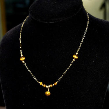 """Vintage 14K Gold Tigers Eye Choker Necklace, Tigers Eye Beads, Ornate Gold Chain, Cats Eye Gemstone, Delicate Gold Necklace, 17"""" Long by shopGoodsVintage"""
