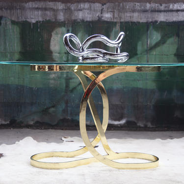 Mid Century Milo Baughman DIA Brass Ribbon Curved Console Table Hollywood Regency MCM Post Modern by CatchMyDriftVintage