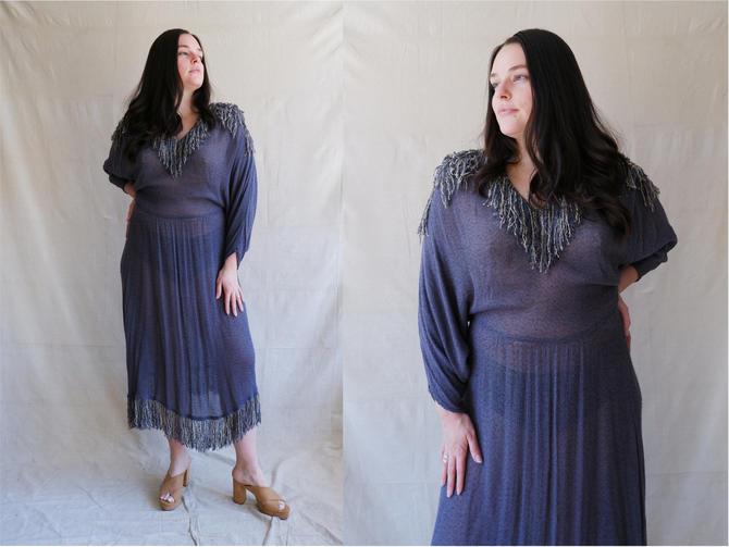 Vintage 80s Woven Fringe Dress/ 1980s Batwing Cotton Dress/Sybil/ Size Large by bottleofbread