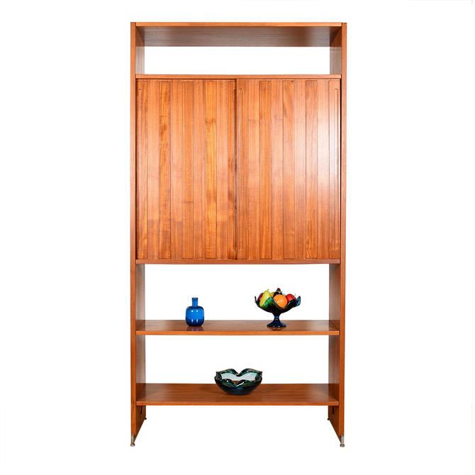 Hans Wegner Adj. Single Column Teak Wall Unit | Room Divider w. Rare Tall Cabinet Sliding Doors