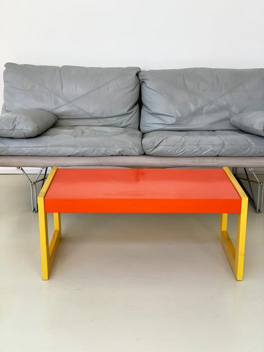 1980s Stained Yellow and Orange Beechwood Coffee Table