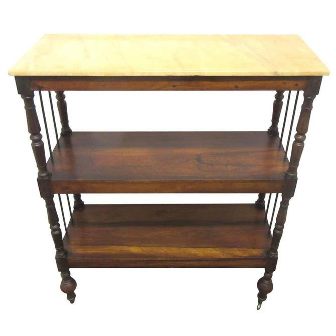 American Art Deco Rosewood Three-Tier Bar Cart with Marble Top