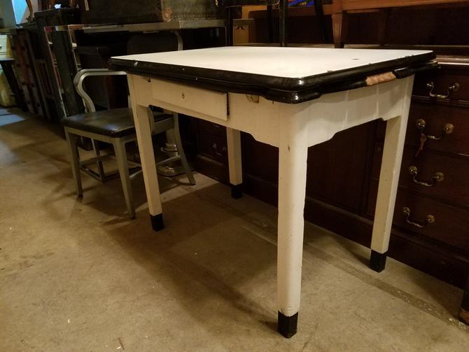 Vintage Enameled Table H30.75 x W40.25 x D25