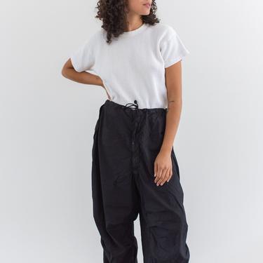 Vintage 26-34 Waist Black Drawstring Parachute Pants   Unisex High Waist Cotton Pants   L XL   by RAWSONSTUDIO
