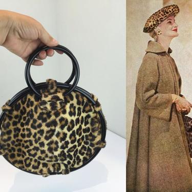 That Marvelous Trip To Zanzibar - Vintage 1950s Faux Leopard Fur Large Circle Wrist Purse Handbag - Rare by RoadsLessTravelled2