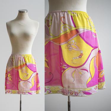 Hot Pink Vintage 1960s Emilio Pucci Half Slip / Psychedelic Print Skirt / 60s Psychedelic Emilio Pucci Half Slip / 60s Mini Skirt Slip by milkandice