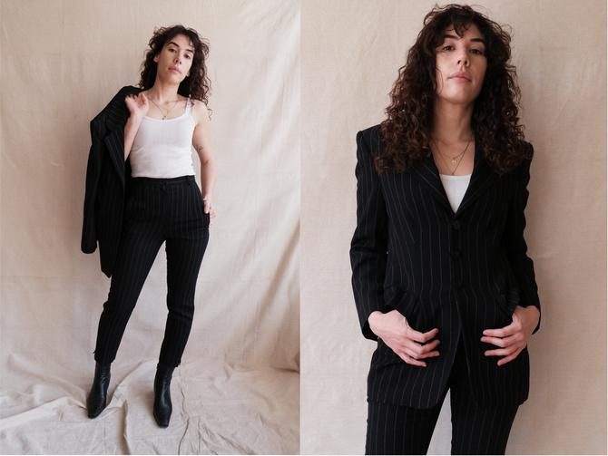 Vintage 90s Black Pinstripe Suit/ 1990s High Waisted Peg Leg Pant Suit/ Black Jacket and Trousers/ Size Small by bottleofbread