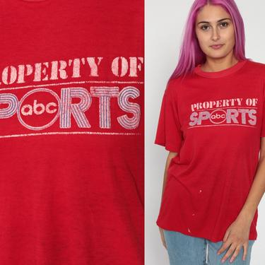 ABC Sports Shirt 80s TShirt Red Graphic Tee Distressed Worn Paper Thin Sporty Burnout Soft USA Shirt Retro Vintage Tee Small Medium by ShopExile