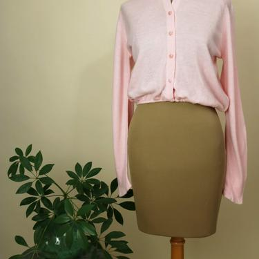 Vintage 1950's Pink Cropped Pin Up Sweater - S/M by YouthquakerVintage