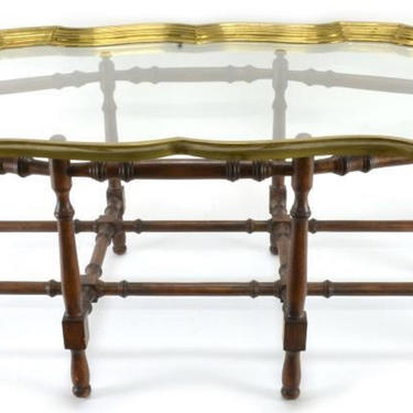 VINTAGE Baker Faux Bamboo Coffee Table, Glass and Brass, Bamboo, Baker Furniture, Hollywood Regency, Home Decor by 3GirlsAntiques