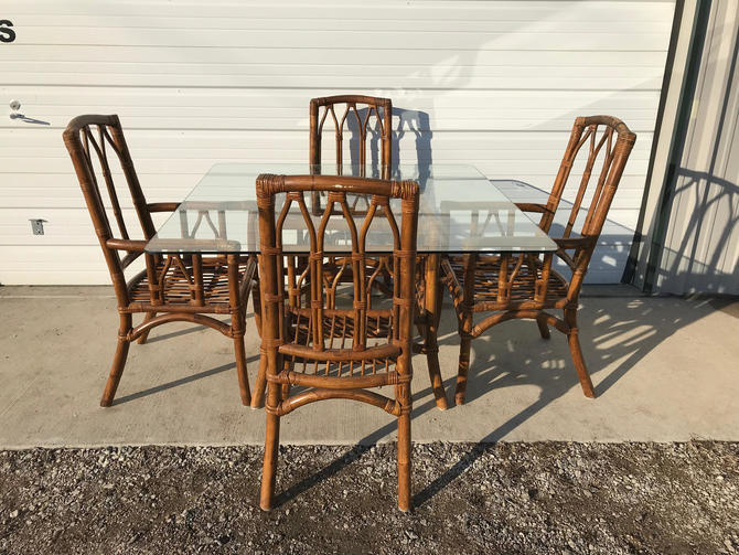 Dining Set Rattan Faux Bamboo Chairs Table 6pc Hollywood ...