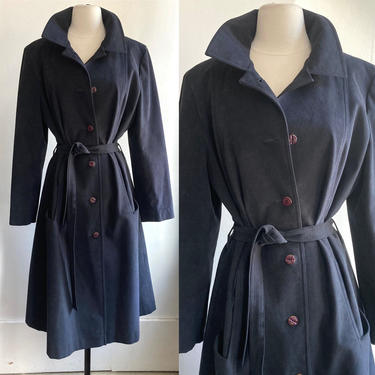 Sexy 70's Vintage ULTRASUEDE TRENCH COAT / Inky Black / Count Romi by CharmVintageBoutique