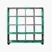 Distressed Bright Blue Display Curio Cabinet Room Divider on Wheels cs5412S