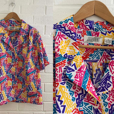 True Vintage Abstract Shirt Button Up Rainbow Colorful Summer Short Sleeve Boxy Blouse 1990s 90s Vacation 2XL XXL XL Plus Curvy Volup by CheckEngineVintage