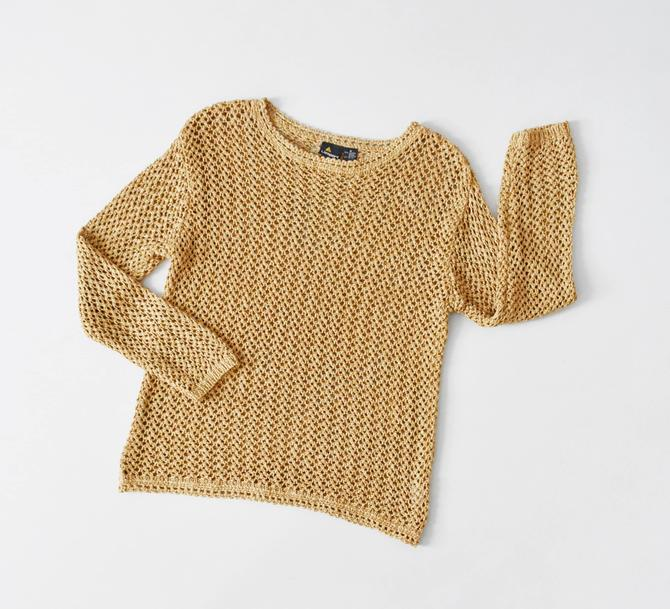 vintage open knit sweater, 90s beige cotton pullover, size M by ImprovGoods