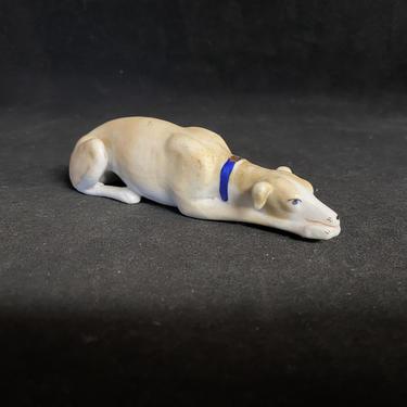 Antique Greyhound Bisque Porcelain Figurine by accokeekpickers