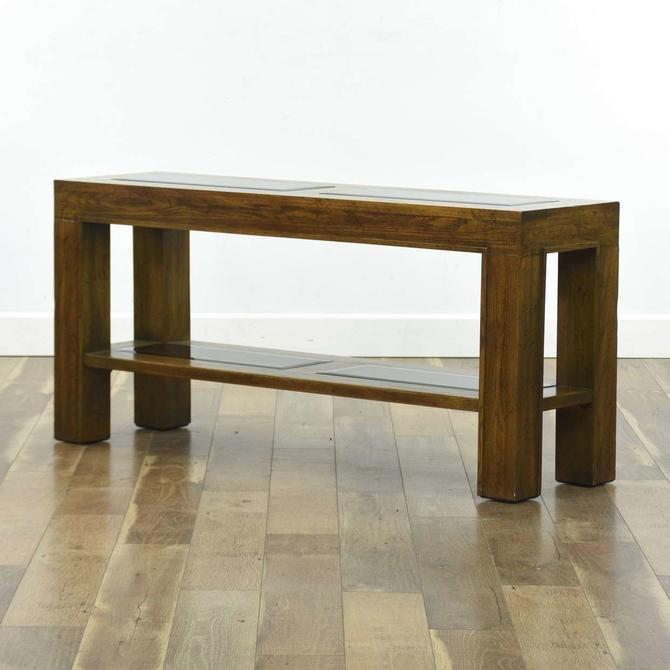 Vintage Oak Console Table W Beveled Glass Inserts