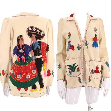 40s MEXICAN embroidered wool jacket / vintage 1940s 1950s appliquéd souvenir tourist jacket with figures MEXICO by ritualvintage