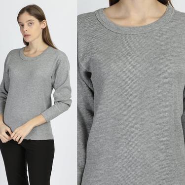 70s 80s Waffle Knit Thermal Shirt - Medium   Vintage Gray Undershirt Unisex Long Sleeve Top by FlyingAppleVintage