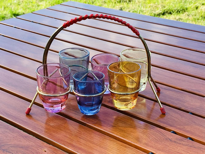 Mid Century Shot Glass Set with Carrier by OrWaDesigns