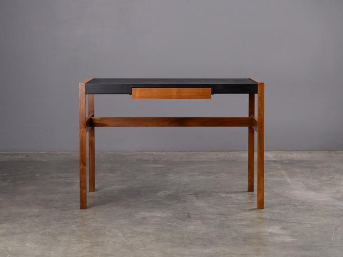 Compact Jens Risom Desk Solid Walnut and Black Leather Mid Century by MadsenModern