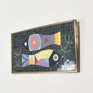 """Modern Mosaic Glass Tiles Wall Art Fish signed """"JK"""" Jennifer Kuhns by AMBIANIC"""