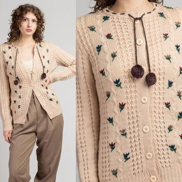 Vintage Floral Embroidered Cardigan - Small to Medium   80s Button Up Wool Knit Fisherman Sweater by FlyingAppleVintage