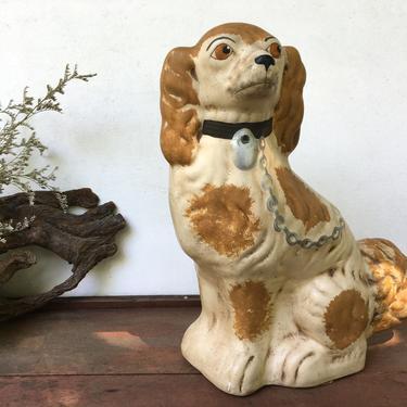 Vintage Walnut Ridge Primitives Spaniel Dog Figurine, 1990 Staffordshire Style Dog Statue by luckduck