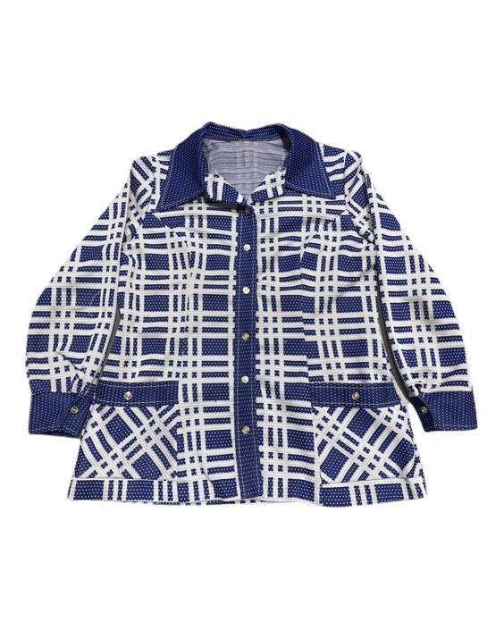 (M) 70s Blue/White Womens Summer Coat 091521 LM