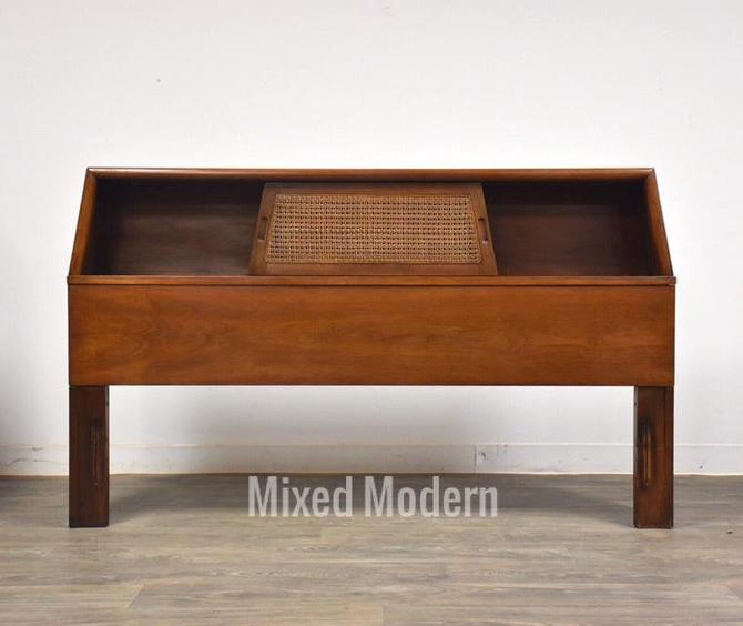 American of Martinsville Walnut & Cane Headboard by mixedmodern1