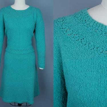 1950s Turquoise Knit Set | Vintage 50s 60s Sweater and Skirt | medium by RelicVintageSF