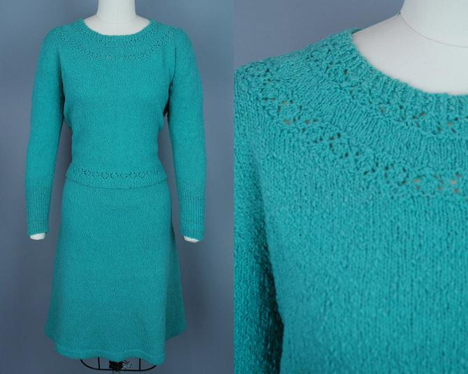 1950s Turquoise Knit Set   Vintage 50s 60s Sweater and Skirt   medium by RelicVintageSF