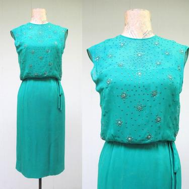 Vintage 1960s Wiggle Dress, 60s Emerald Green Silk Chiffon Rhinestone Dress, Fancy Sleeveless Sheath, Cocktail Party Frock, X Small 32 Bust by RanchQueenVintage