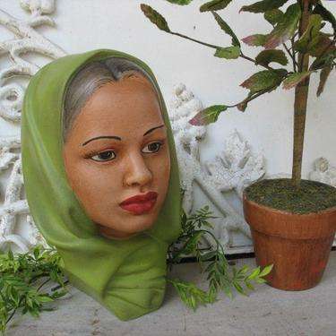 Vintage Female Bust, Exotic Woman Face Statue With Green Head Scarf, Ethnic Boho Female Head by luckduck