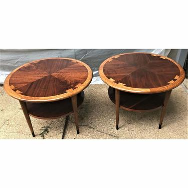 Danish Modern Lane Acclaim Round or Drum End Tables - a Pair