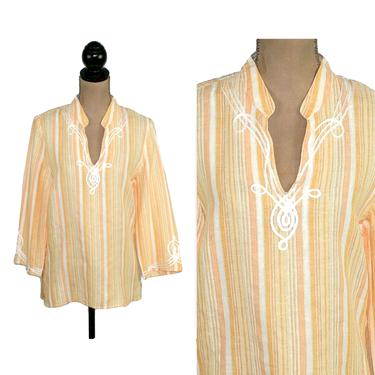 Embroidered Peach Striped Tunic Top Small, Ethnic Indian Cotton Linen Blouse, Bohemian Hippie Shirt, Casual Clothes Women Vintage by MagpieandOtis