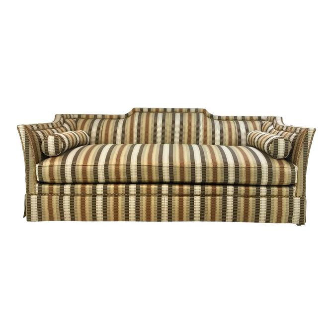 Traditional Hickory White Earth Tone Striped Sofa