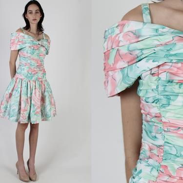 Victor Costa Pastel Prom Dress / 80s Ruched Off Shoulder Dress / Preppy 1980s Pageant Full Skirt Dress / Designer Party Gown Mini Dress S M by americanarchive