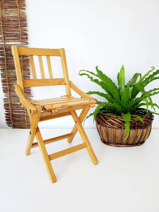 Vintage Handmade Wood Plant Stand Chair / Doll Chair by pennyportland